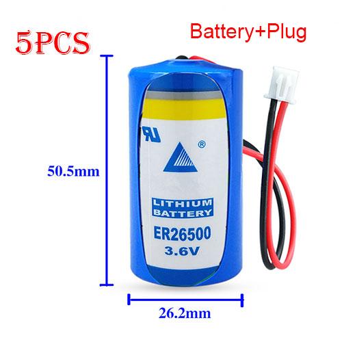 ER26500 for 5PCS white plug LISUN ER26500 C Size 3.6V 9000mAh High Energy Li-SOCl2