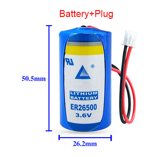 ER26500 for LISUN ER26500 C Size 3.6V 9000mAh LS26500 High Energy Li-SOCl2 with white plug