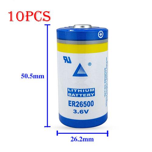ER26500 for 10PCS LISUN ER26500 C Size Batteries 3.6V 9000mAh LS26500 High Energy Li-SOCl2